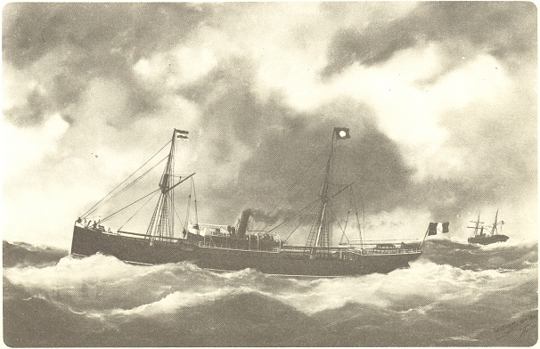 The 'Suzanne et Marie' steamer in 1891 (oil paint of Ed. Adam)